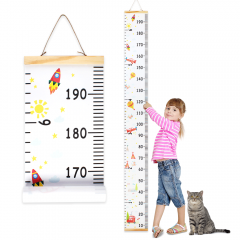 Wall Ruler Growth Chart Wood and Canvas | Baby Growth Chart for Boys and Girls | Space-Inspired Cartoon Patterns | Ready to Hang | 79 Inches x 7.9 Inc
