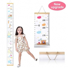 Wall Growth Chart, Canvas and Wood Growth Chart for Kids, Perfect Wall Decor Piece for Kids Room, Baby Room,  Bedroom, Height Measurement Ruler for Ch