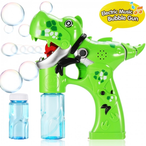 Bubble Gun,Dinosaur Bubble Shooter Electric Music Bubble Dispenser for Toddlers Soap Bubble Blower Toy Automatic Bubble Wand with Music & Lights Extra