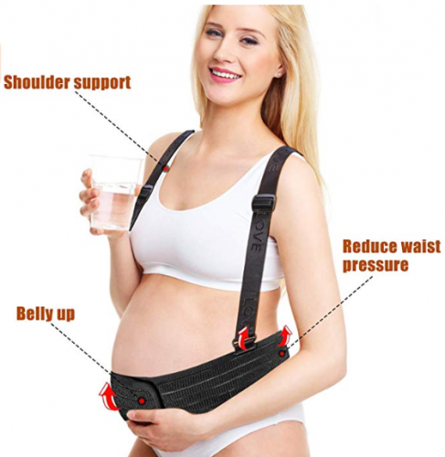 Maternity Belt, Mommy Belt with Shoulder Straps Adjustable Pregnancy Harness Black Pregnant Stomach Support Lightweight and Breathable Prenatal Belly