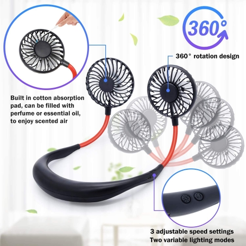 Personal Fan, Neck Fan Portable USB Fans with Three Levels of Wind USB Rechargeable 2000mAh Battery, Red and Blue LED Lights, Private Fan are Suitable