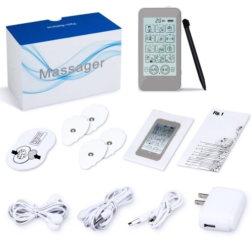 TENS Unit, Muscle Stimulator with 2 Channels 12 Modes TENS Machine with Touch Screen for Back Pain, Neck Pain, and Sciatic Pain Relief and Rehabilitat